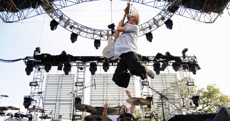 Joe Sumner (Sting's son) of Fiction Plane caught in a mid air jump while performing at The Backyard in Austin, Texas, USA.