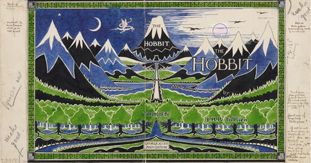Tolkien's 1937 design for the dust jacket of 'The Hobbit.' Note the publisher's instruction in the left-hand column to ignore the use of red, which Tolkien had hoped to incorporate in the design