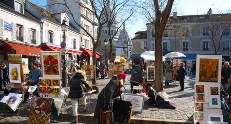 Artists sell their work at Place du Tertre