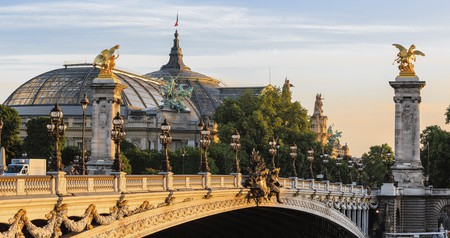 The Alexander III Bridge in Paris spans the Seine