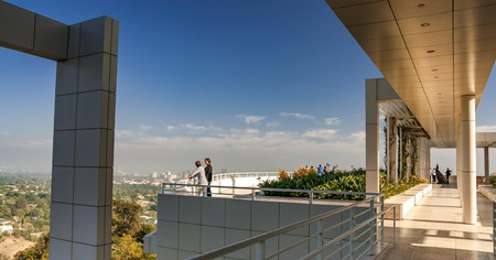On the terrace at The Getty Center Museum's South Pavilion in Brentwood, Los Angles, California, USA