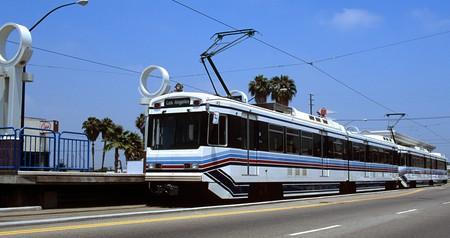 The Metro Rail transports passengers in Long Beach, CA