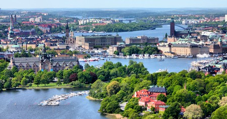 Aerial view of famous Gamla Stan (the Old Town) and other islands, canals, landmarks, Stockholm, Sweden.