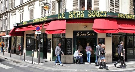 People visit Le Sans Souci in Paris, France