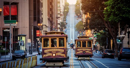 Classic view of historic traditional cable cars in San Francisco, California, USA