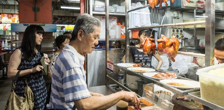 Michelin-starred Liao Fan Hong Kong Soya Sauce Chicken Rice and Noodle stall in China Town Complex, Singapore.