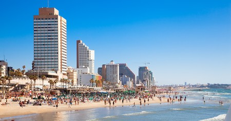 Panoramic view of the Tel Aviv public beach on the Mediterranean Sea, Israel.
