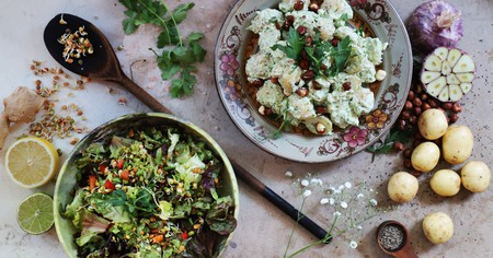 The garlic potatoes and sprouted beans are two must-try dishes at Cornucopia