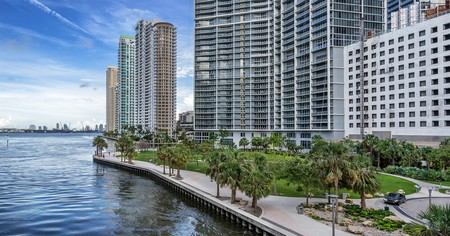 The Miami Circle sits along the Miami River in downtown Miami