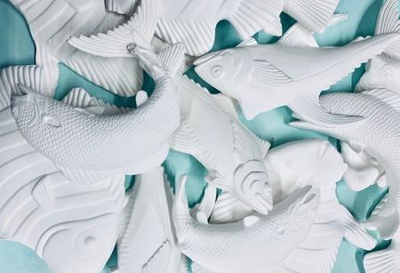 Morel Doucet, 'The ocean dances over sun buttered mountains,' 2019, porcelain ceramics and slip cast, 8'x4'.
