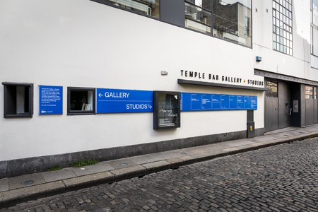 Exterior view of Temple Bar Gallery + Studios (TBG+S), an artists community in the heart of Dublin city centre. Founded in 1983, the building houses thirty artists' studios s in which professional visual artists make their work and gallery space that presents a cross section of contemporary Irish and international visual arts practice. (Photo: Kasia Kaminska)