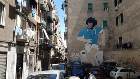 A Diego Maradona mural in Naples