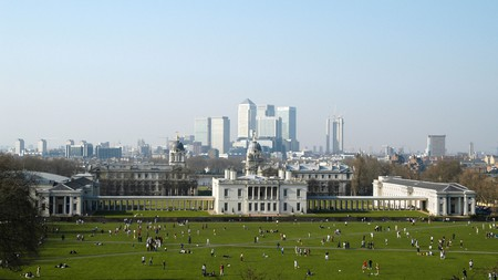 The view from the top of Greenwich Park across to Canary Wharf