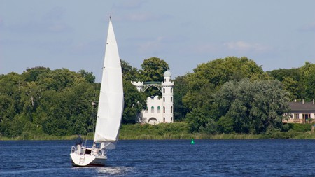 Boating at Pfaueninsel (Peacock Island), whose summer palace was designed to mirror a ruined monastery