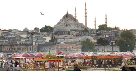 Waterfront at Eminonu with the Rustem Pasha Mosque on the skyline, Istanbul