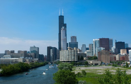 Chicago's Willis Tower juts into a blue sky