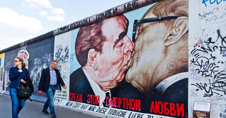 'Fraternal Kiss' by Dmitri Vrubel is one of the Berlin Wall's most gripping murals