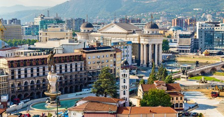Aerial view of the city centre of Skopje