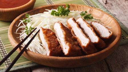 Japanese breaded tonkatsu with cabbage