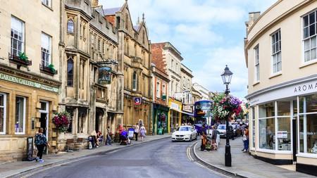 Glastonbury town centre, UK