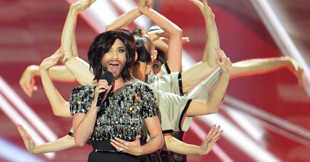 Conchita Wurst, who won the 2014 ESC for Austria, performs during a break in the final of the 2015 contest in Vienna