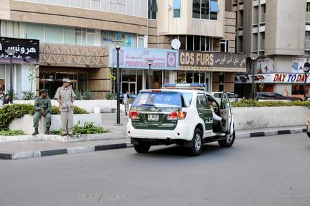 Dubai police officers taking a break