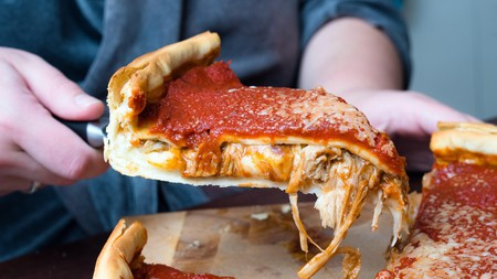 Chicago's deep-dish pizza gets its iconic look thanks to its many layers and sky-high crust