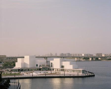 View of the peninsular site and surrounding waterfront promenade, at Jameel Arts Centre, Dubai.