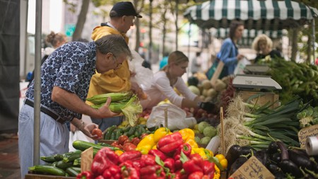 Shoppers browse at the Copley Square Farmer's Market