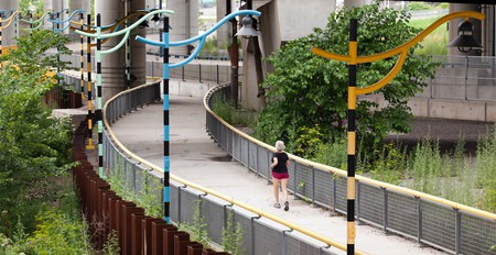 A jogger near the Charlestown Bridge, Boston