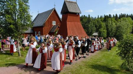 People celebrating midsummer festival, Evertsberg, Dalarna, Sweden