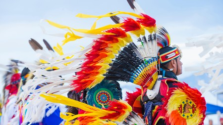 A tribal member takes part in the 25th Annual Paiute Tribe Pow Wow in Las Vegas