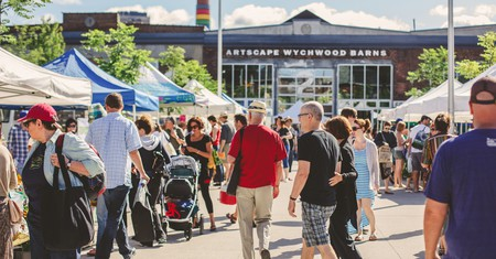 Enjoy the outdoor space at Wychwood Barns when you visit The Stop Farmers' Market