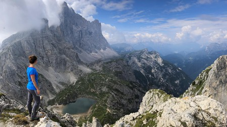 Hike in the Dolomites for a breathtaking view over Lake Coldai