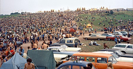 Crowds gather in Bethel, New York, for the original Woodstock Festival in 1969