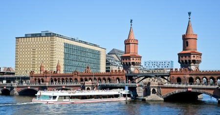 Berlin's Oberbaum Bridge links the districts of Kreuzberg and Friedrichshain