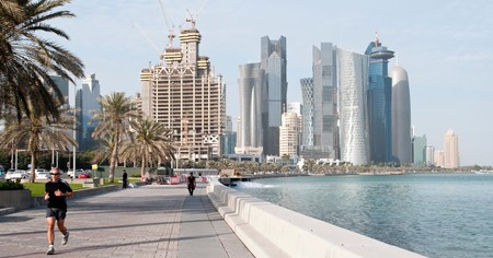 A runner enjoys Doha's Corniche Promenade