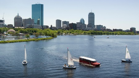 A duck boat tour will take you from Boston's streets into the Charles River