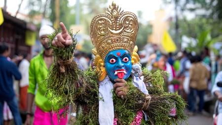 A traditional Kummatti folk dancer during Onam celebrations