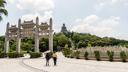 Entrance gate to Tian Tin monastery and the Big Buddha