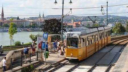 Budapest's No. 2 tram route uses Communist-era trams