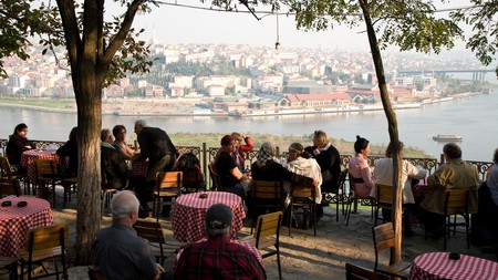 Al fresco cafe overlooking Istanbul and the Bosphorous Strait from the Golden Horn, Istanbul