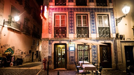 A bar sits ready waiting for the night's revelry in Lisbon's famous Bairro Alto