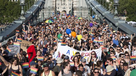The Budapest Pride Parade crosses the famous Széchenyi Chain Bridge