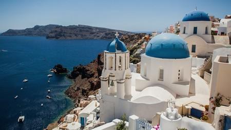 White houses and churches, Oia town, Santorini island