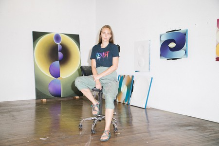 Painter Loie Hollowell in her studio in New York City