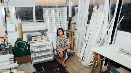 Iris Touliatou in her studio in Athens