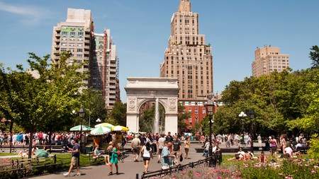 Washington Square Park attracts people year round