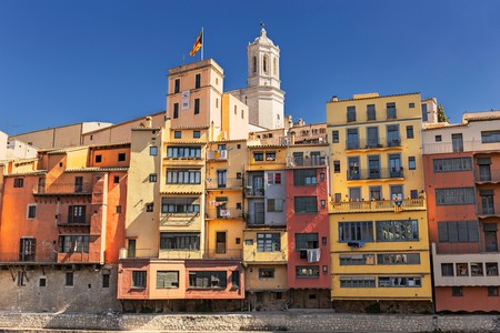 Colorful houses in the historical jewish quarter in Girona, Catalonia