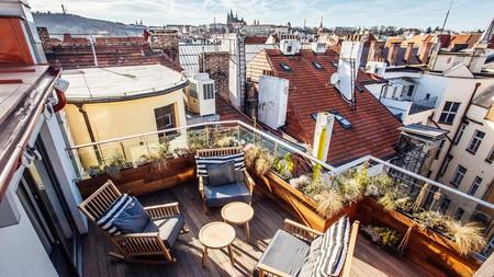 The Emblem Hotel's rooftop boasts spectacular views of Prague's skyline